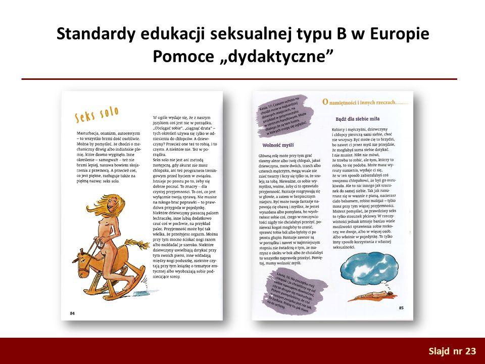 """Standardy edukacji seksualnej typu B w Europie Pomoce """"dydaktyczne"""
