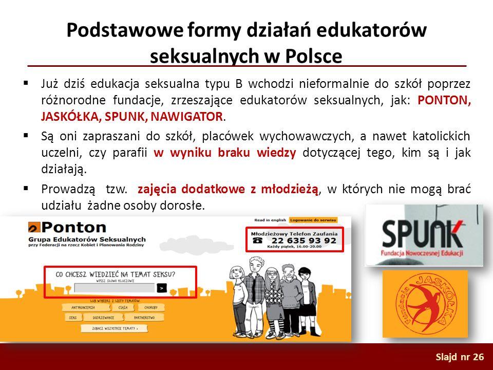 Podstawowe formy działań edukatorów seksualnych w Polsce