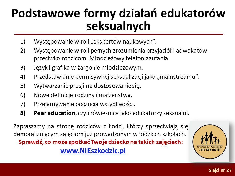 Podstawowe formy działań edukatorów seksualnych