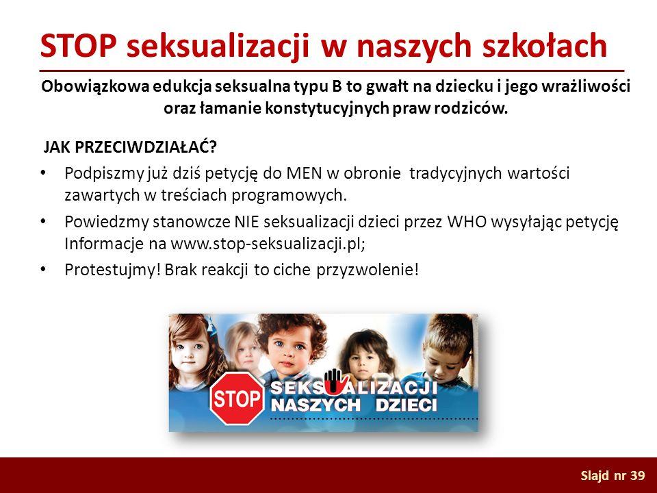 STOP seksualizacji w naszych szkołach