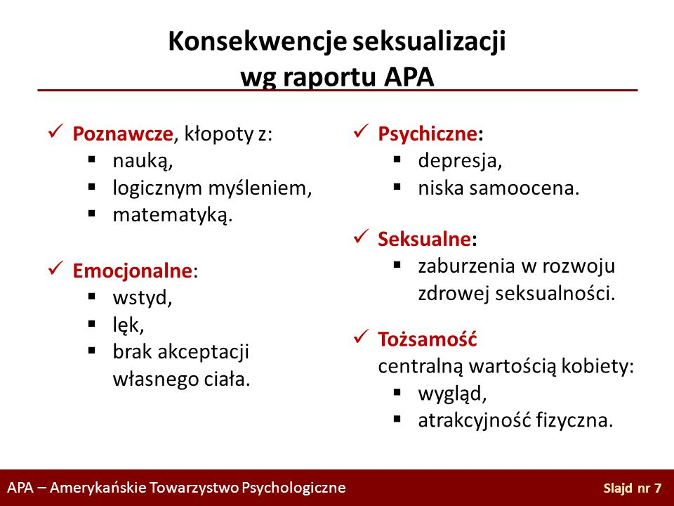 Konsekwencje seksualizacji wg raportu APA