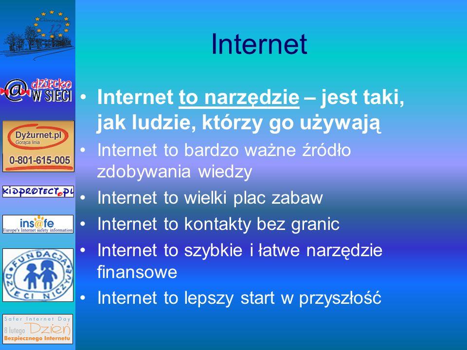 Internet Internet to narzędzie – jest taki, jak ludzie, którzy go używają. Internet to bardzo ważne źródło zdobywania wiedzy.