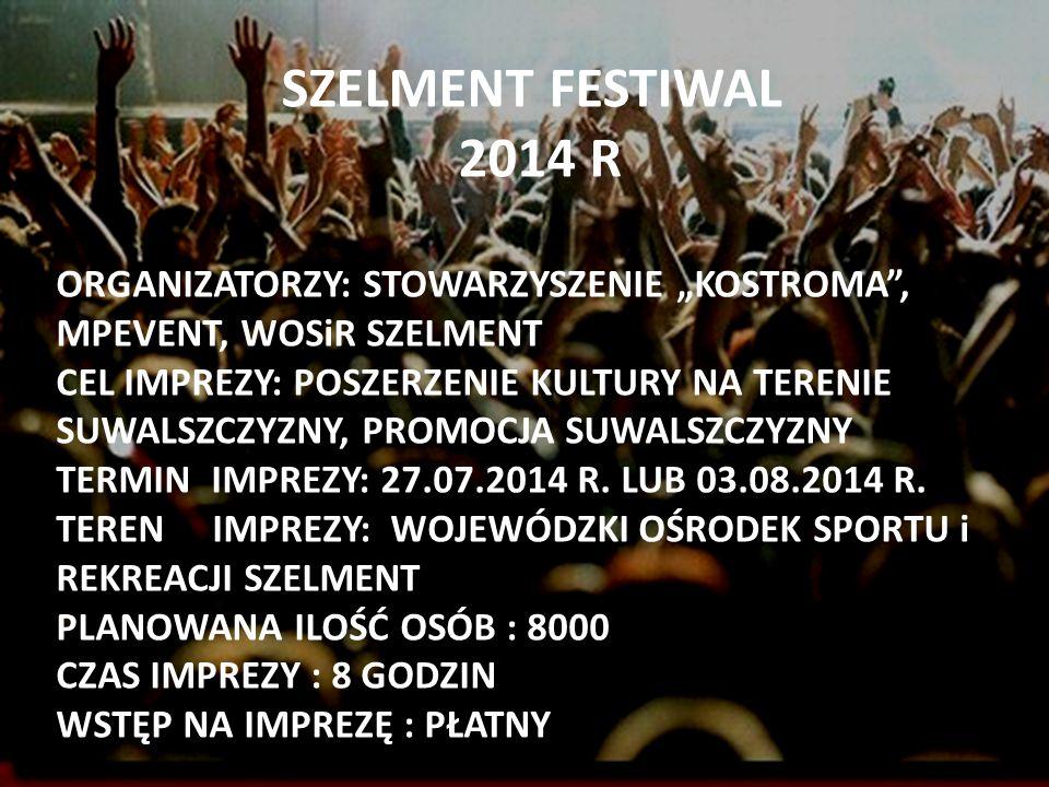 "SZELMENT FESTIWAL 2014 R. ORGANIZATORZY: STOWARZYSZENIE ""KOSTROMA , MPEVENT, WOSiR SZELMENT."