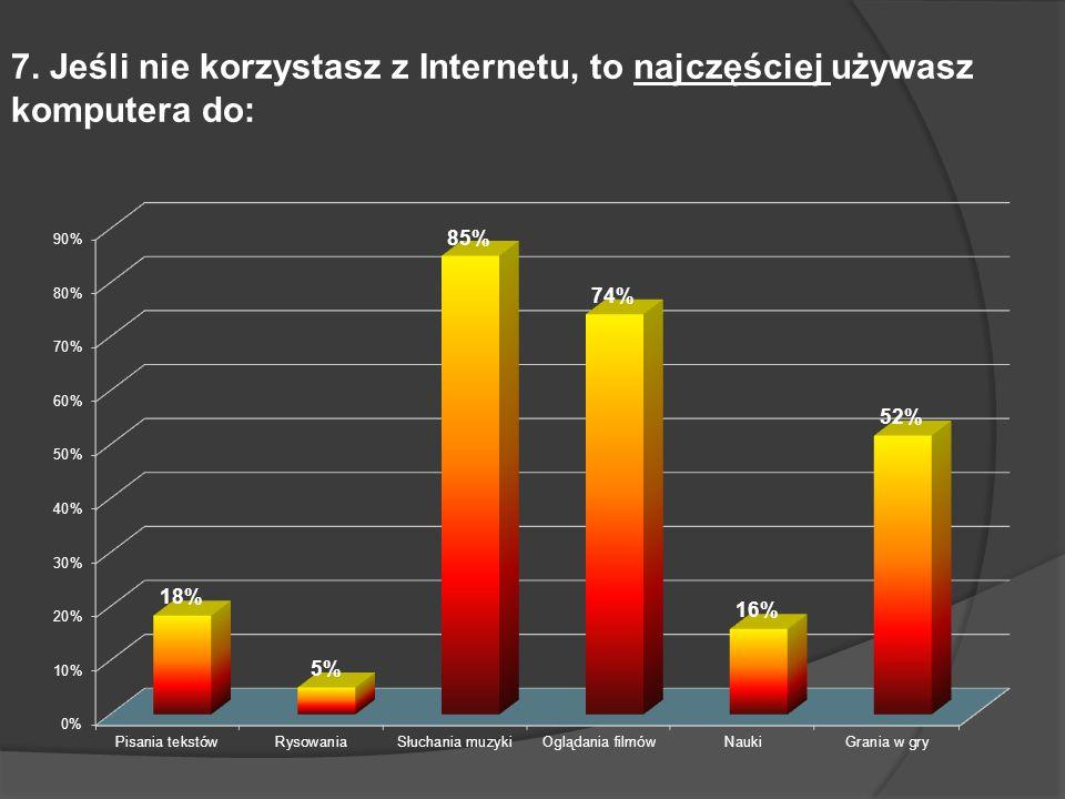 7. Jeśli nie korzystasz z Internetu, to najczęściej używasz komputera do: