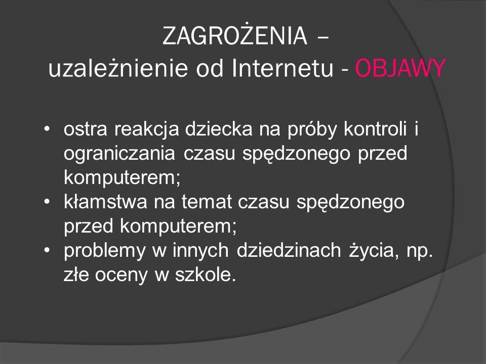 ZAGROŻENIA – uzależnienie od Internetu - OBJAWY