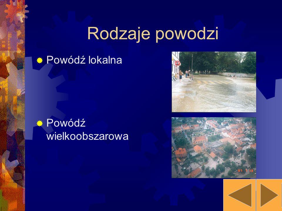 Rodzaje powodzi Powódź lokalna Powódź wielkoobszarowa