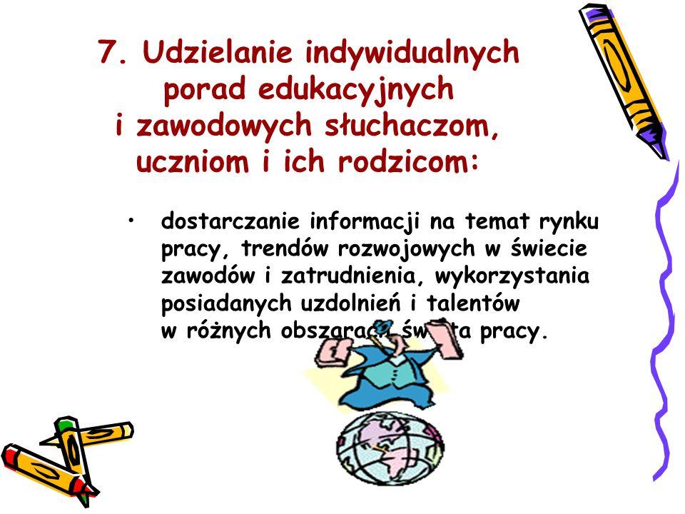 7. Udzielanie indywidualnych porad edukacyjnych i zawodowych słuchaczom, uczniom i ich rodzicom:
