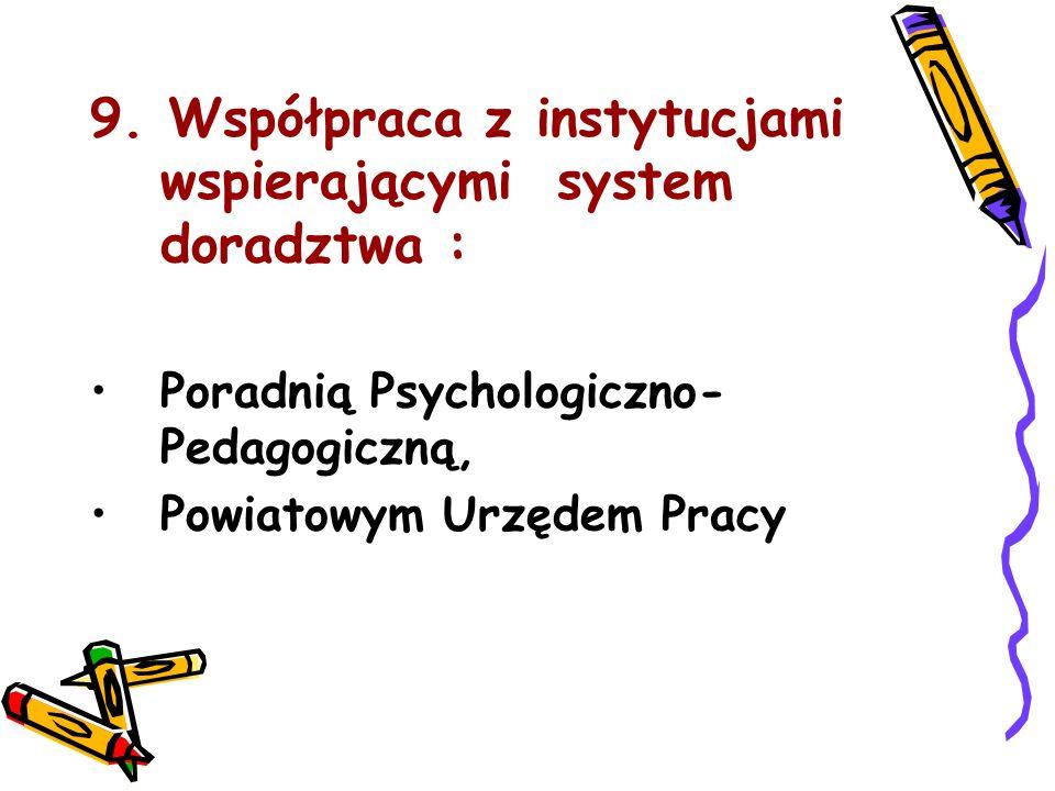 9. Współpraca z instytucjami wspierającymi system doradztwa :