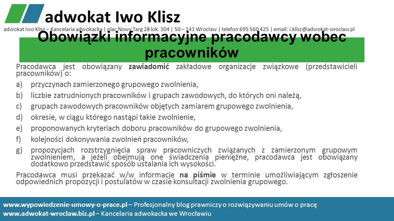 Obowiązki informacyjne pracodawcy wobec pracowników