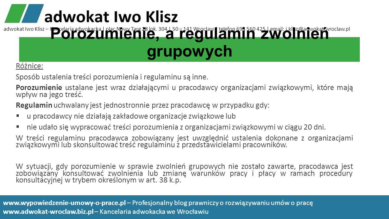 Porozumienie, a regulamin zwolnień grupowych