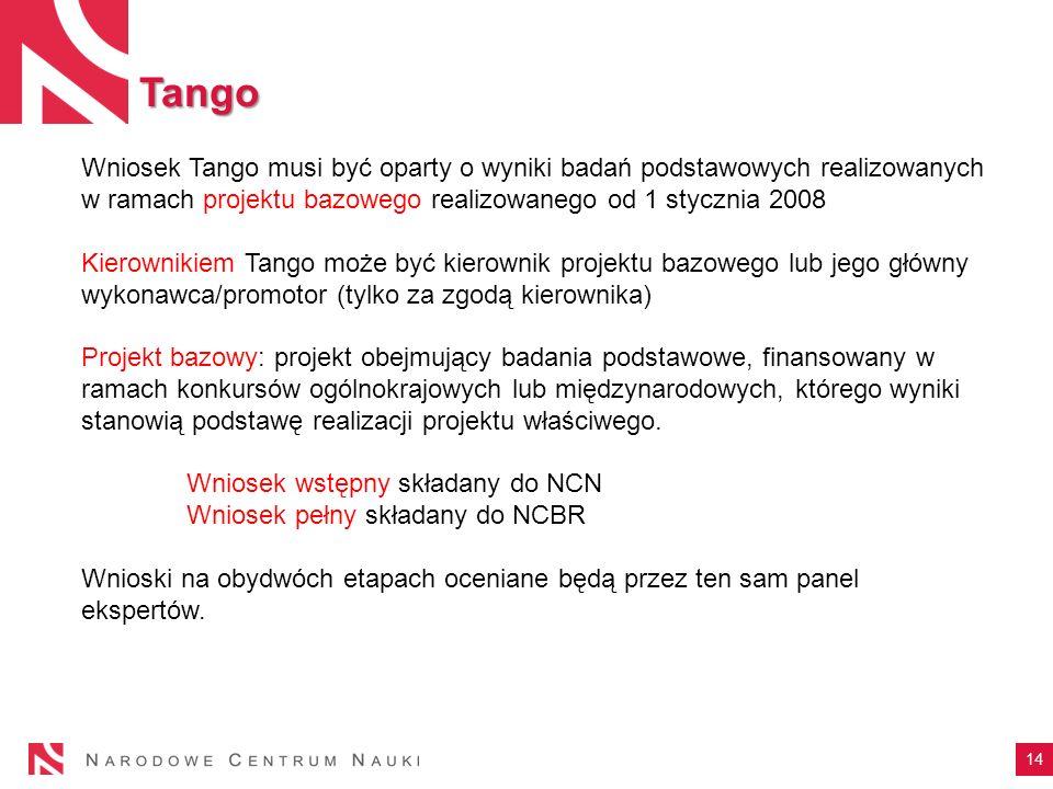 Tango Wniosek Tango musi być oparty o wyniki badań podstawowych realizowanych w ramach projektu bazowego realizowanego od 1 stycznia 2008.