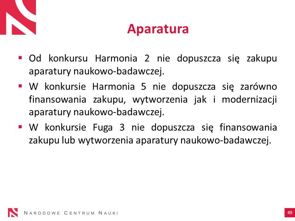 Aparatura Od konkursu Harmonia 2 nie dopuszcza się zakupu aparatury naukowo-badawczej.
