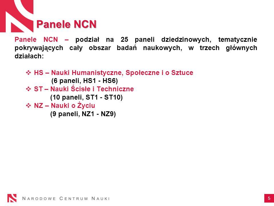 Panele NCN Panele NCN – podział na 25 paneli dziedzinowych, tematycznie pokrywających cały obszar badań naukowych, w trzech głównych działach:
