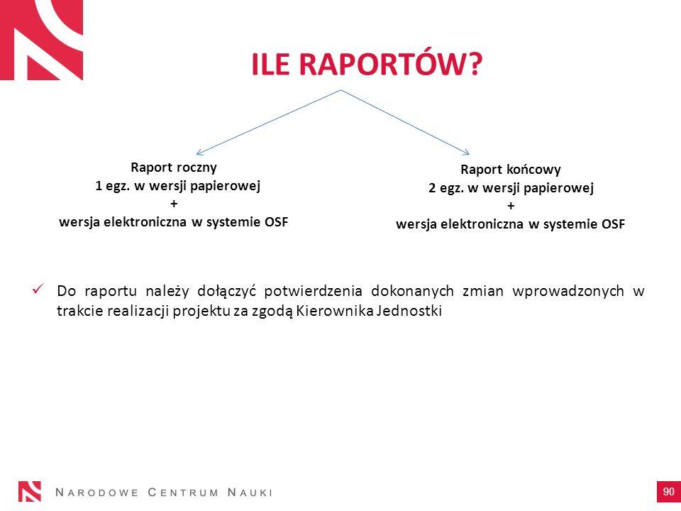ILE RAPORTÓW Raport roczny. 1 egz. w wersji papierowej. + wersja elektroniczna w systemie OSF. Raport końcowy.
