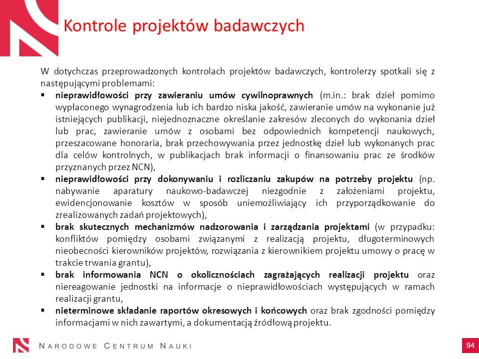 Kontrole projektów badawczych