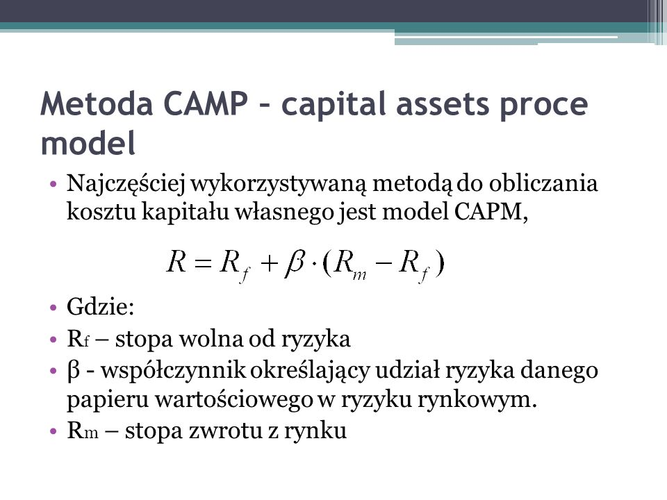 Metoda CAMP – capital assets proce model