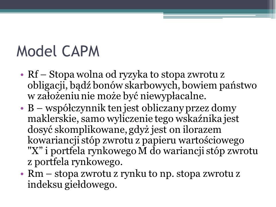 Model CAPM Rf – Stopa wolna od ryzyka to stopa zwrotu z obligacji, bądź bonów skarbowych, bowiem państwo w założeniu nie może być niewypłacalne.