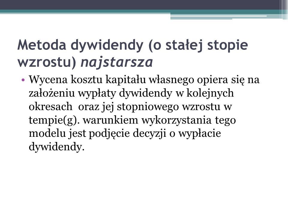 Metoda dywidendy (o stałej stopie wzrostu) najstarsza