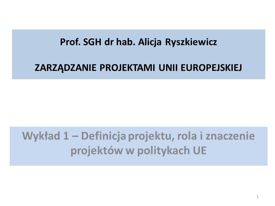 Prof. SGH dr hab. Alicja Ryszkiewicz ZARZĄDZANIE PROJEKTAMI UNII EUROPEJSKIEJ