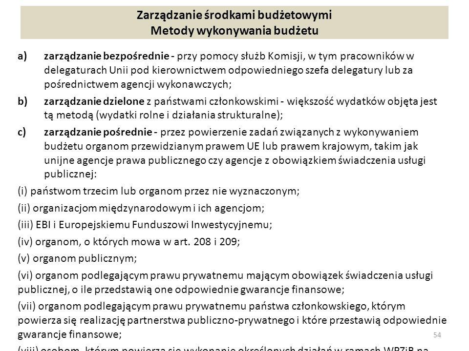 Zarządzanie środkami budżetowymi Metody wykonywania budżetu