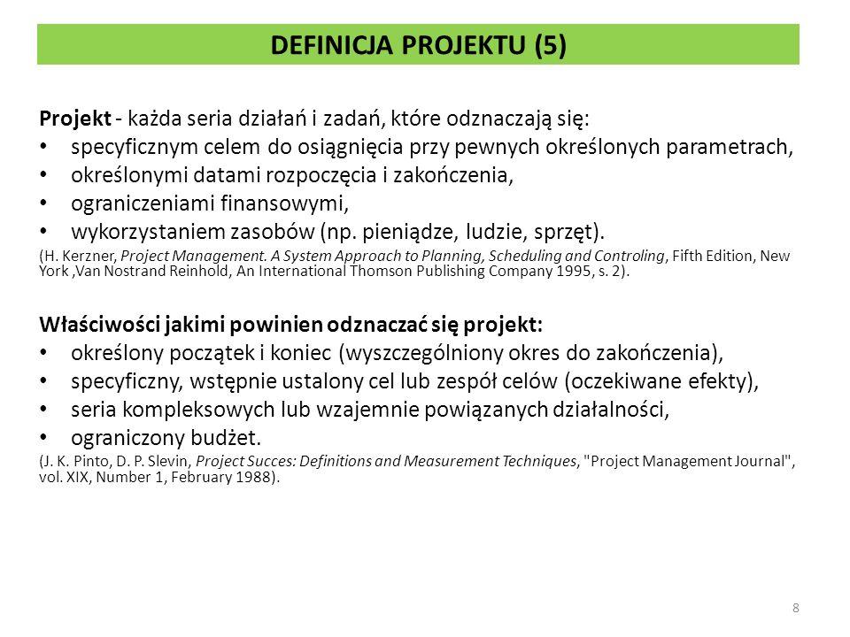 DEFINICJA PROJEKTU (5) Projekt - każda seria działań i zadań, które odznaczają się: