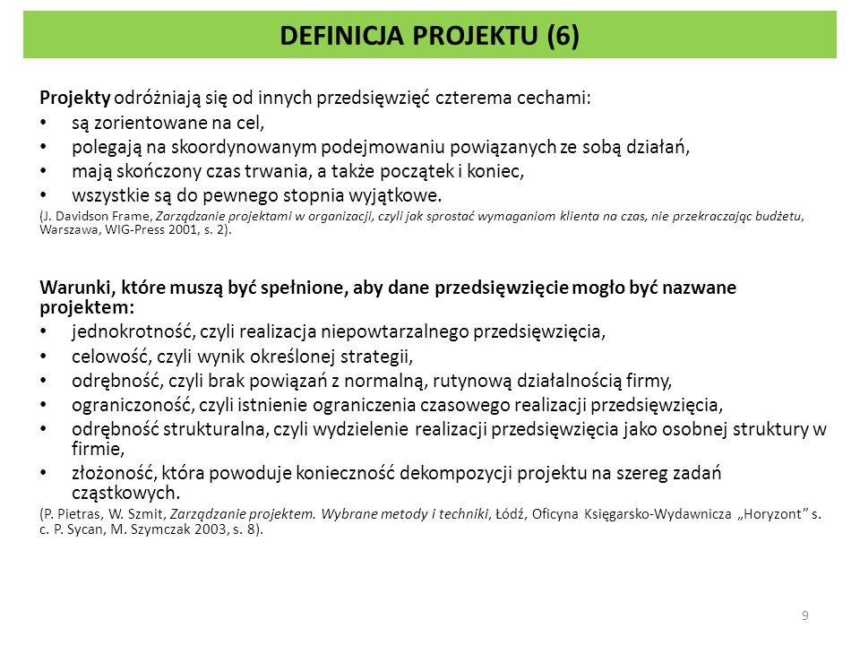 DEFINICJA PROJEKTU (6) Projekty odróżniają się od innych przedsięwzięć czterema cechami: są zorientowane na cel,