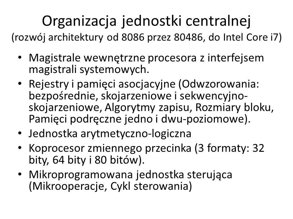 Organizacja jednostki centralnej (rozwój architektury od 8086 przez 80486, do Intel Core i7)