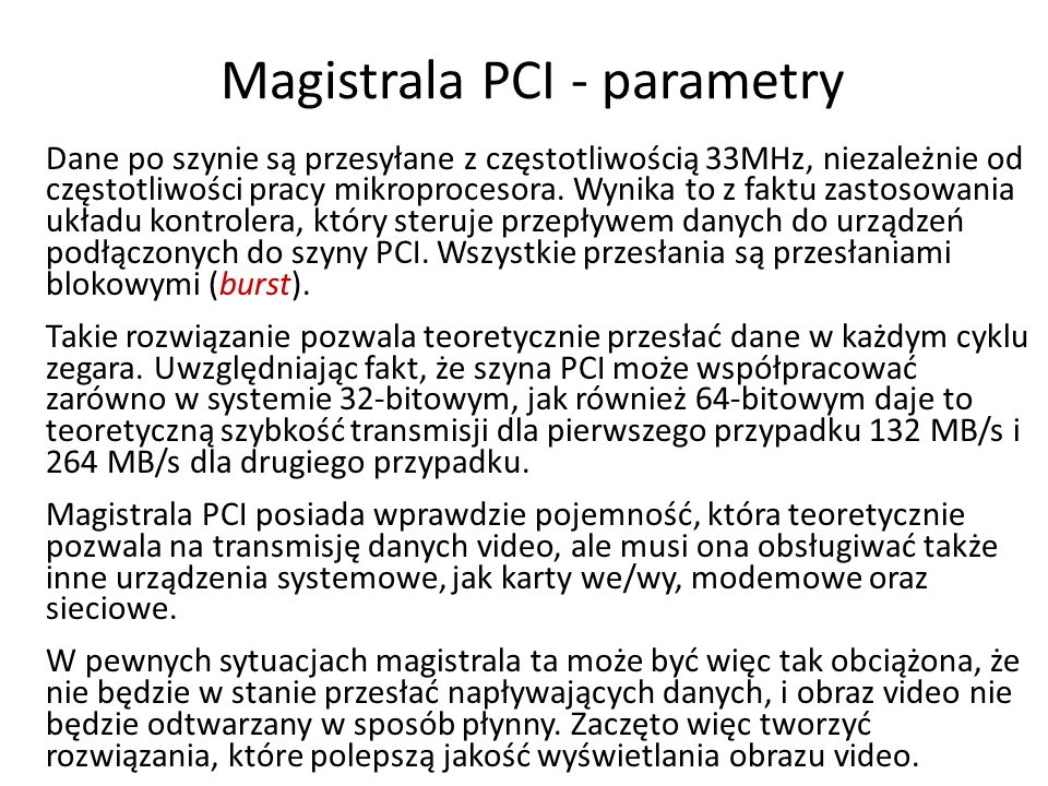 Magistrala PCI - parametry