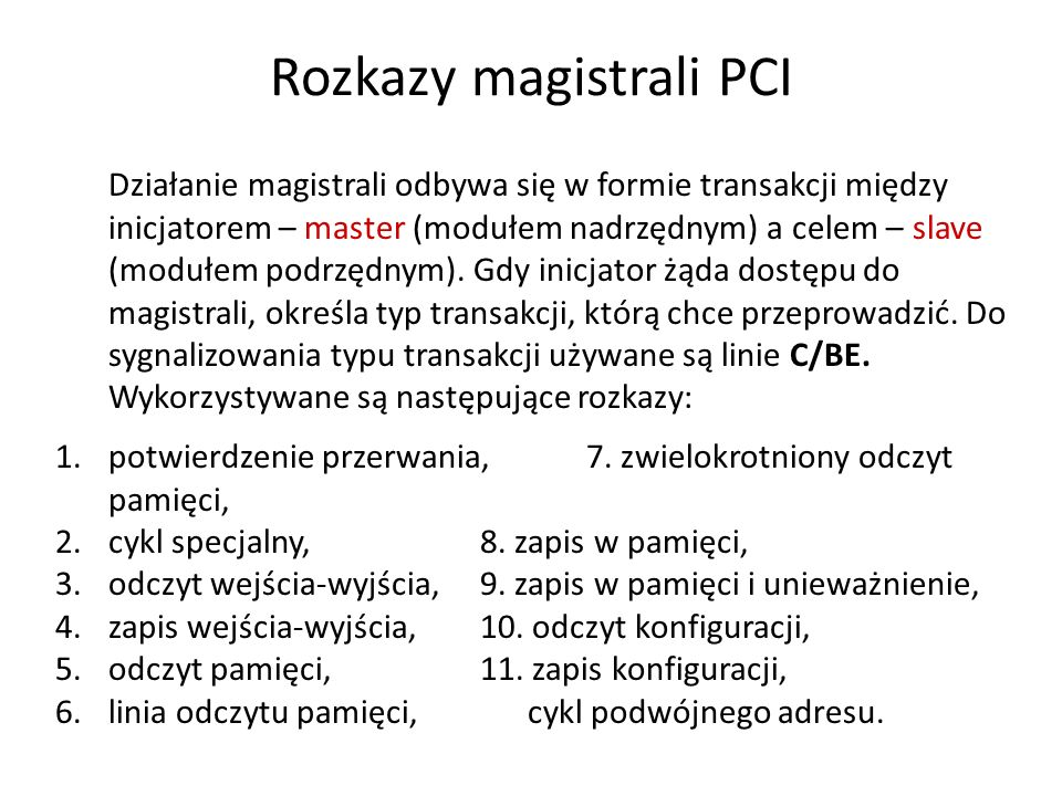 Rozkazy magistrali PCI