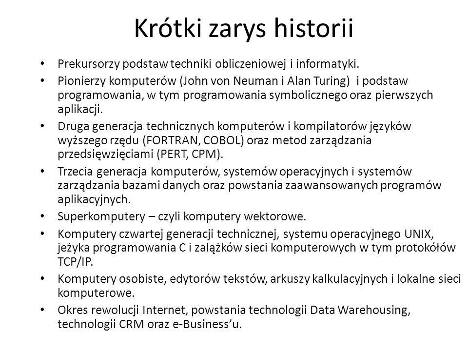 Krótki zarys historii Prekursorzy podstaw techniki obliczeniowej i informatyki.