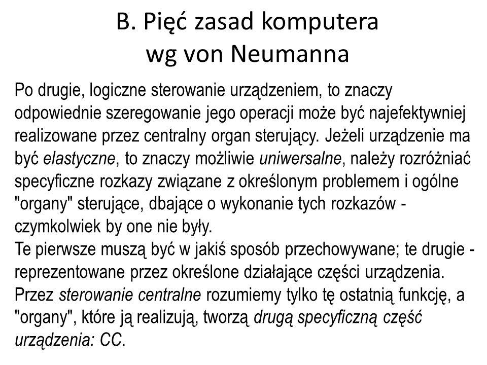 B. Pięć zasad komputera wg von Neumanna
