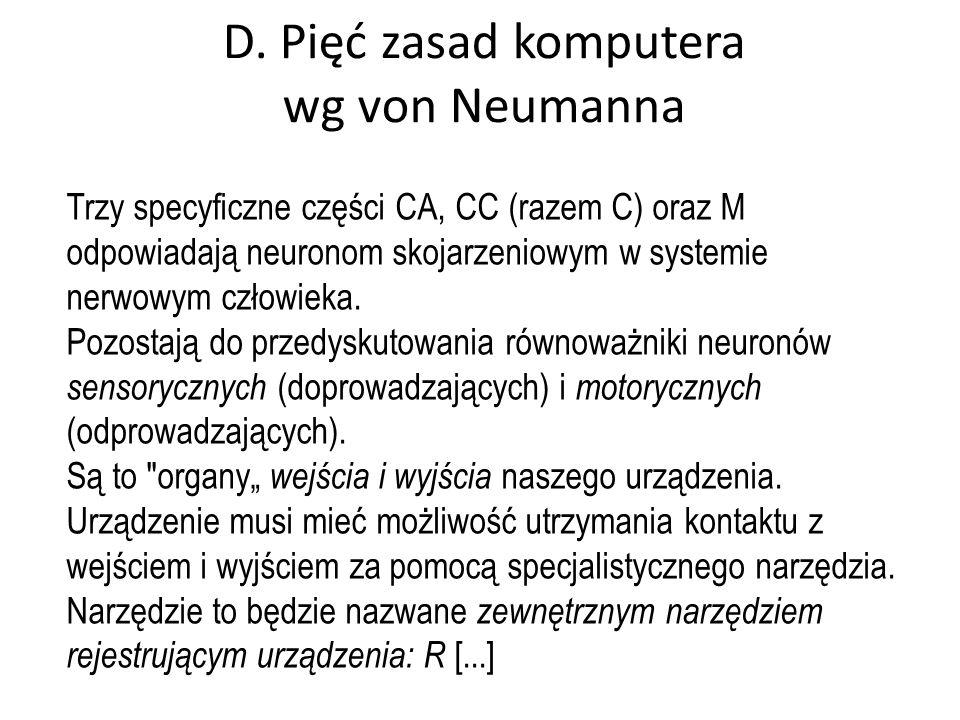 D. Pięć zasad komputera wg von Neumanna