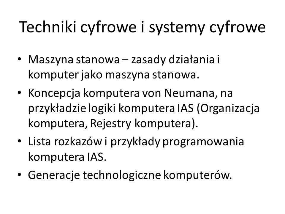 Techniki cyfrowe i systemy cyfrowe