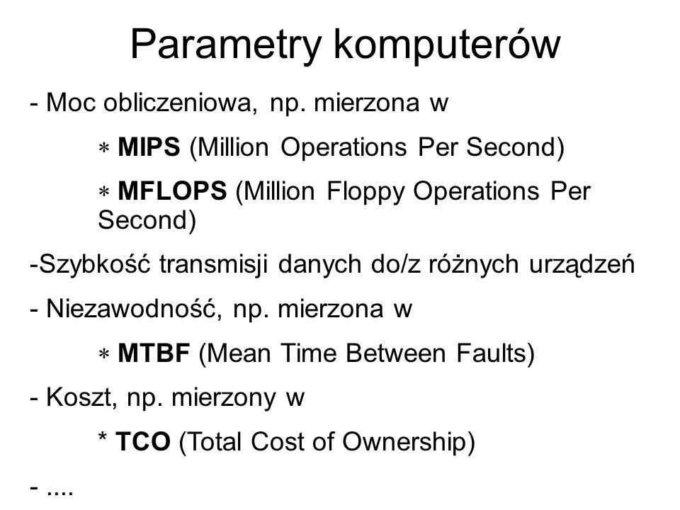 Parametry komputerów - Moc obliczeniowa, np. mierzona w