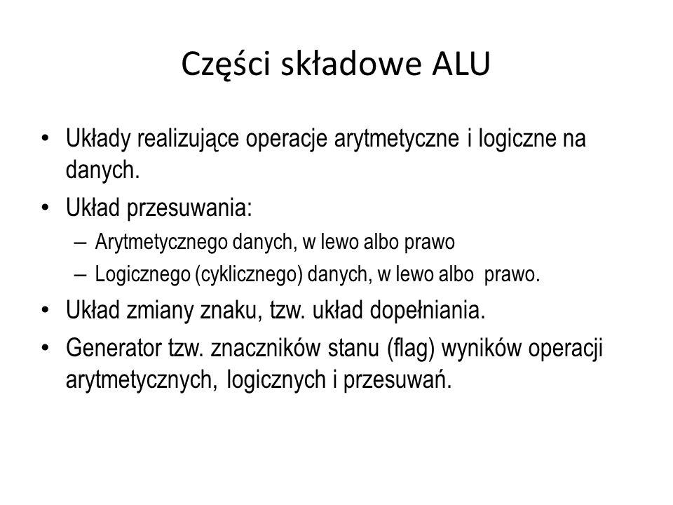 Części składowe ALU Układy realizujące operacje arytmetyczne i logiczne na danych. Układ przesuwania: