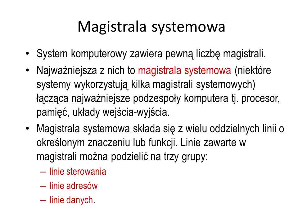 Magistrala systemowa System komputerowy zawiera pewną liczbę magistrali.