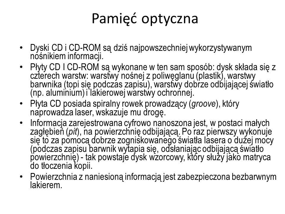 Pamięć optyczna Dyski CD i CD-ROM są dziś najpowszechniej wykorzystywanym nośnikiem informacji.