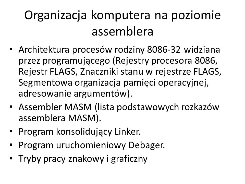 Organizacja komputera na poziomie assemblera