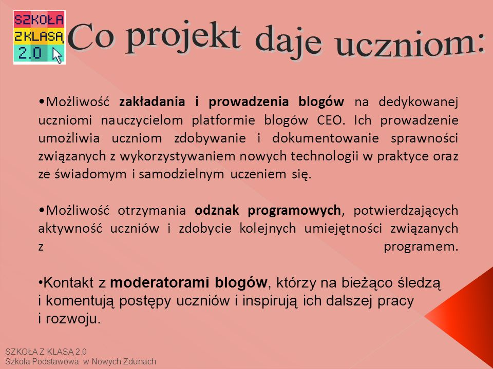 Co projekt daje uczniom: