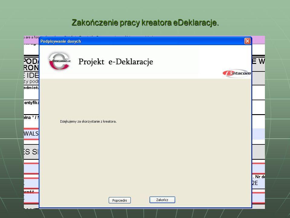 Zakończenie pracy kreatora eDeklaracje.
