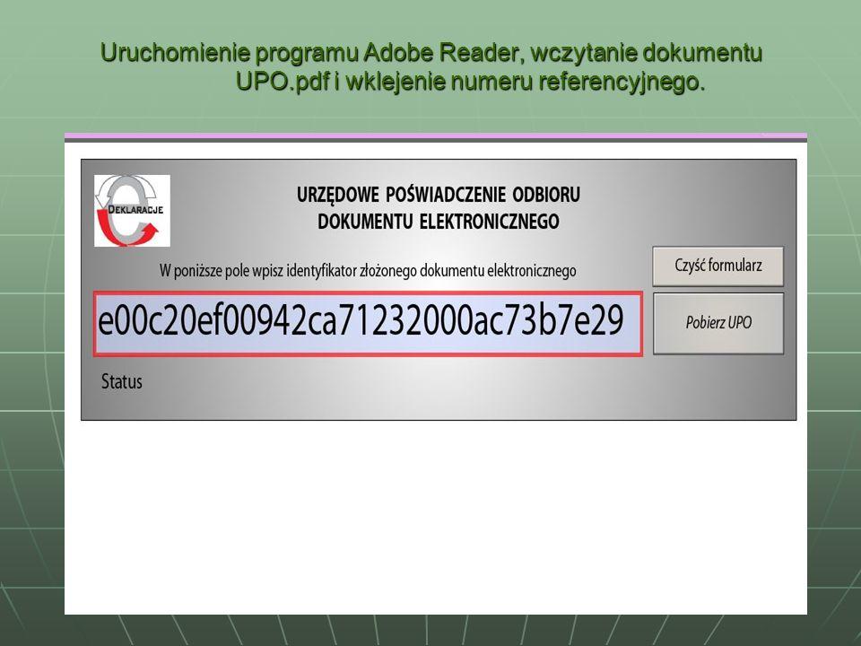 Uruchomienie programu Adobe Reader, wczytanie dokumentu UPO