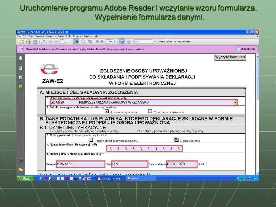 Uruchomienie programu Adobe Reader i wczytanie wzoru formularza