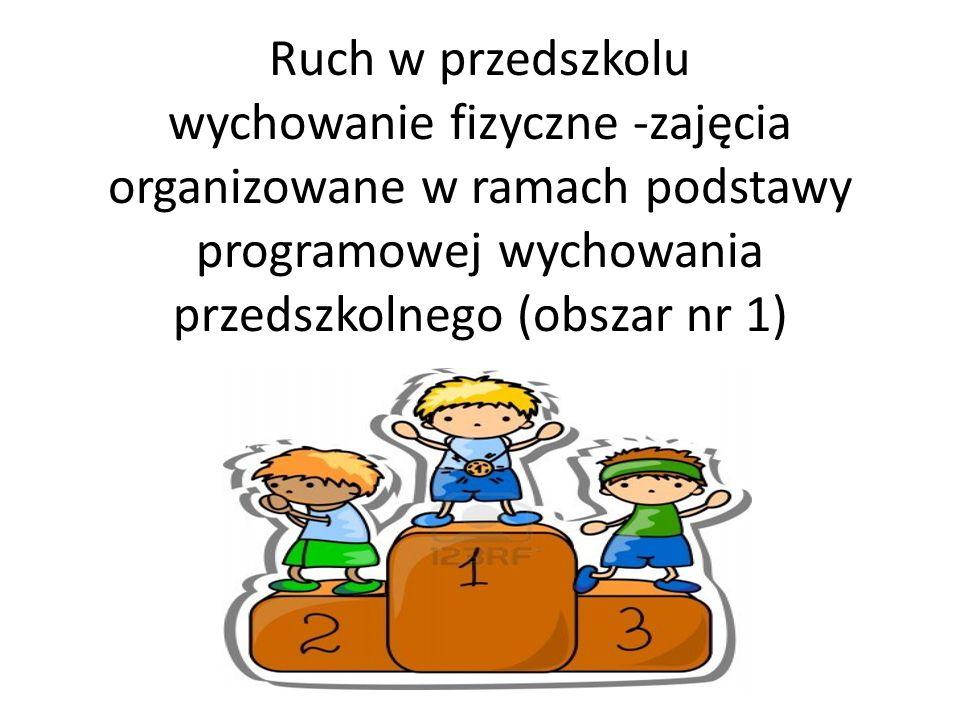 Ruch w przedszkolu wychowanie fizyczne -zajęcia organizowane w ramach podstawy programowej wychowania przedszkolnego (obszar nr 1)