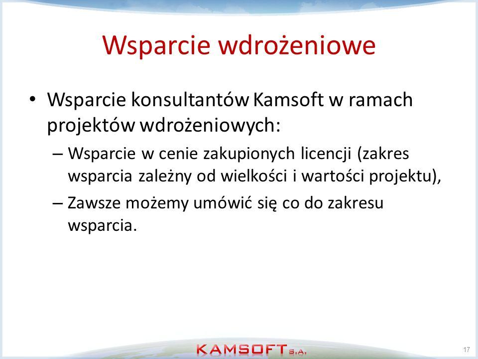 Wsparcie wdrożeniowe Wsparcie konsultantów Kamsoft w ramach projektów wdrożeniowych: