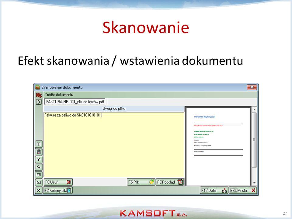 Skanowanie Efekt skanowania / wstawienia dokumentu