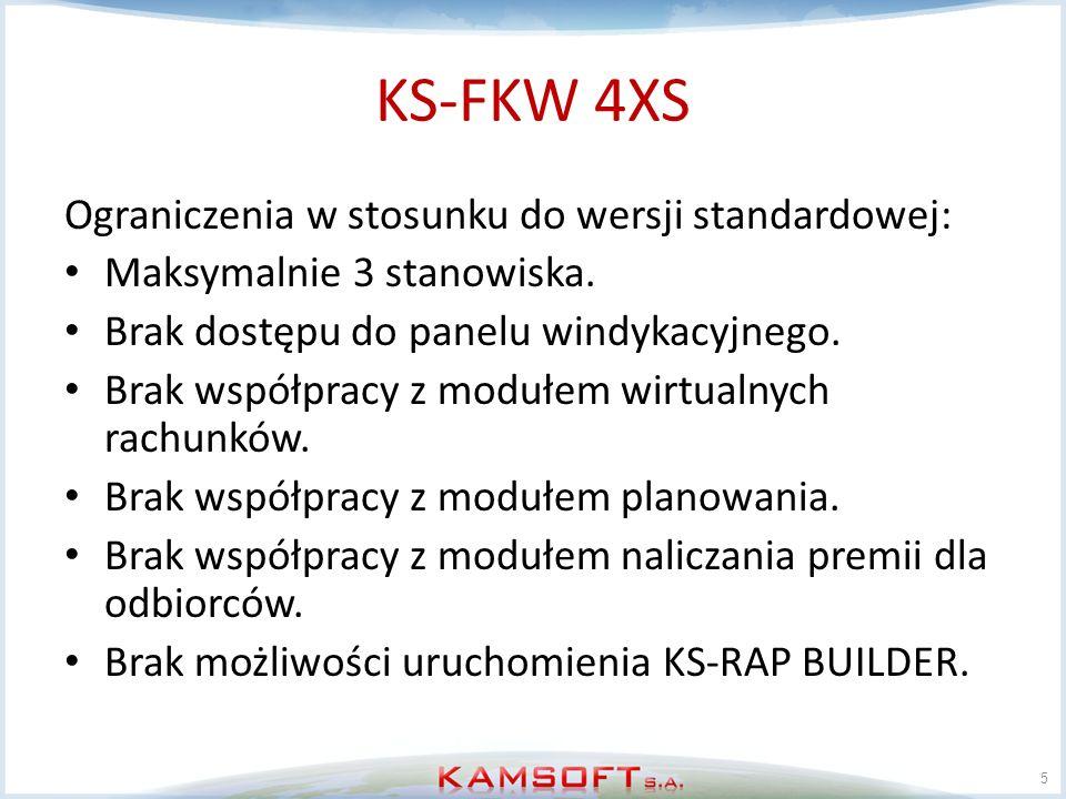 KS-FKW 4XS Ograniczenia w stosunku do wersji standardowej: