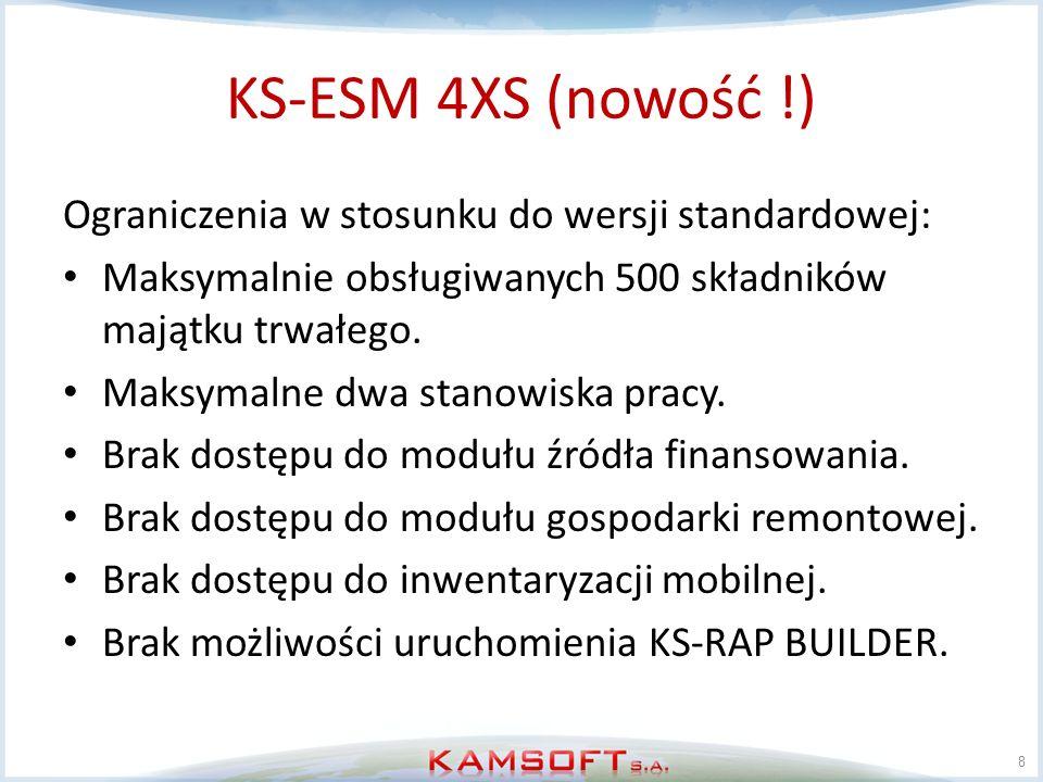 KS-ESM 4XS (nowość !) Ograniczenia w stosunku do wersji standardowej: