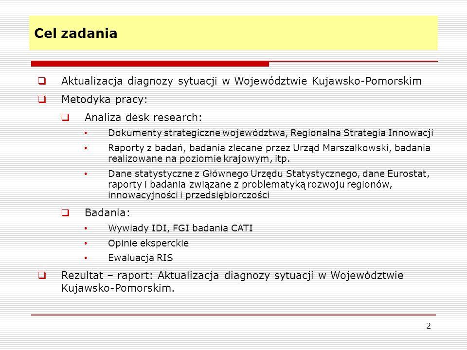 Cel zadania Aktualizacja diagnozy sytuacji w Województwie Kujawsko-Pomorskim. Metodyka pracy: Analiza desk research: