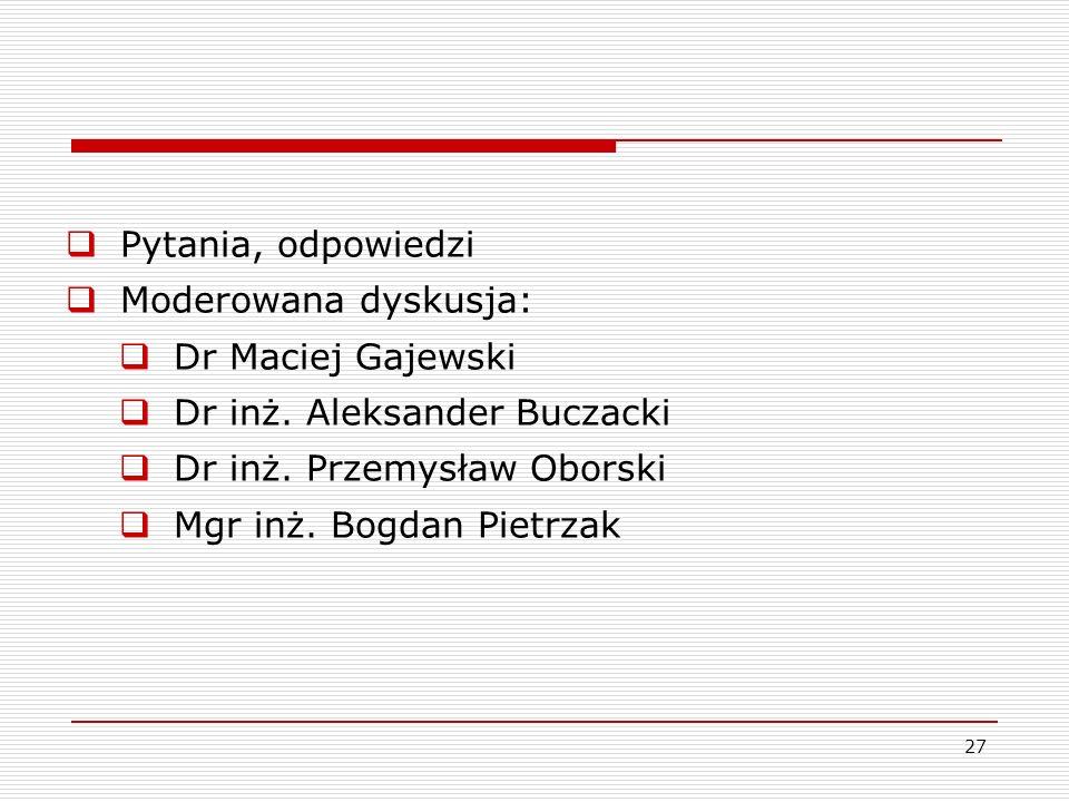Pytania, odpowiedzi Moderowana dyskusja: Dr Maciej Gajewski. Dr inż. Aleksander Buczacki. Dr inż. Przemysław Oborski.