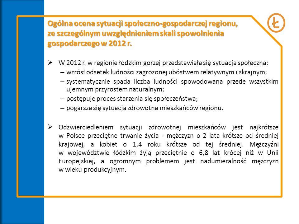 Ogólna ocena sytuacji społeczno-gospodarczej regionu, ze szczególnym uwzględnieniem skali spowolnienia gospodarczego w 2012 r.